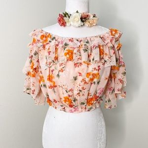 Favlux floral layered cropped top NWT